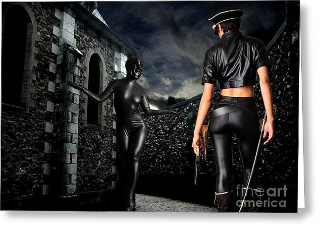 Police Baton Greeting Cards - Mocker At Dark Church Alley Greeting Card by Tammera Malicki-Wong