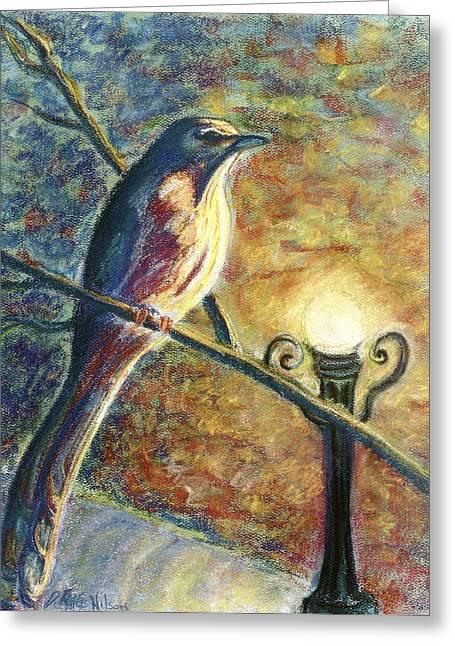 Watching Pastels Greeting Cards - Mockingbird Greeting Card by D Renee Wilson