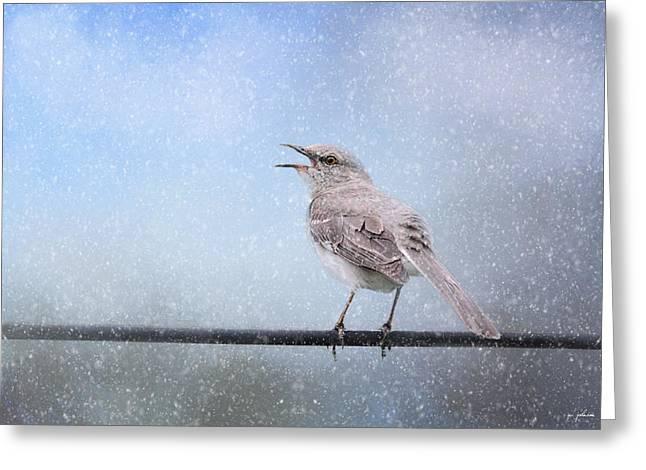 Mockingbird Greeting Cards - Mockingbird In The Snow Greeting Card by Jai Johnson