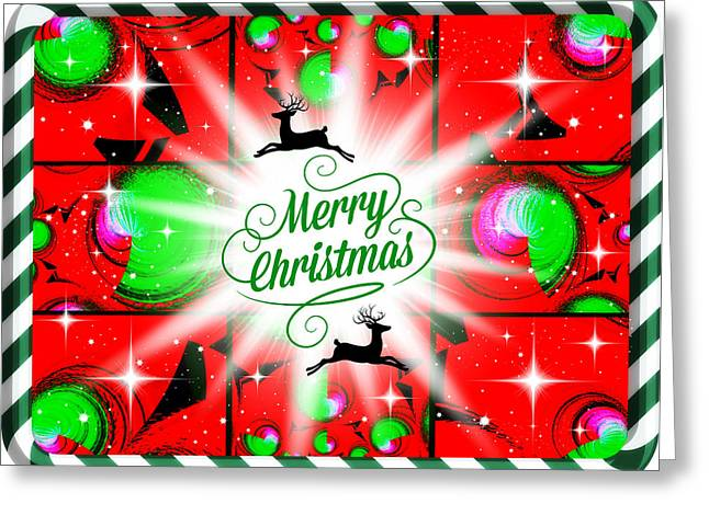 Digital Art Greeting Cards - Mod Cards - Merry Christmas Reindeer V Greeting Card by Aurelio Zucco