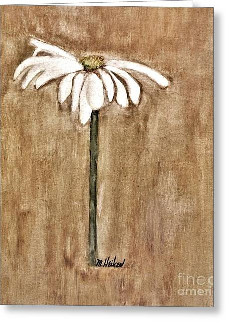 Light Taupe Greeting Cards - Mod Daisy Greeting Card by Marsha Heiken