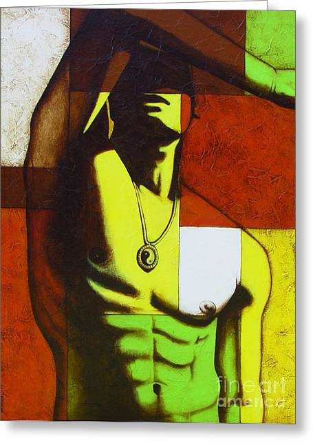 Homoerotic Mixed Media Greeting Cards - Mod Male Greeting Card by Joseph Sonday