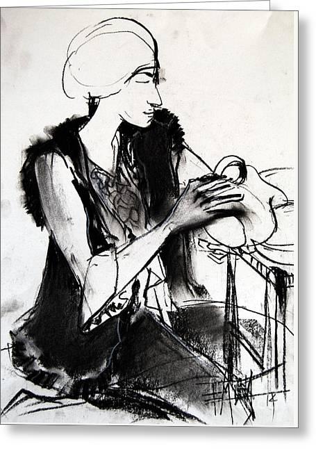 Model #1 - Figure Series Greeting Card by Mona Edulesco