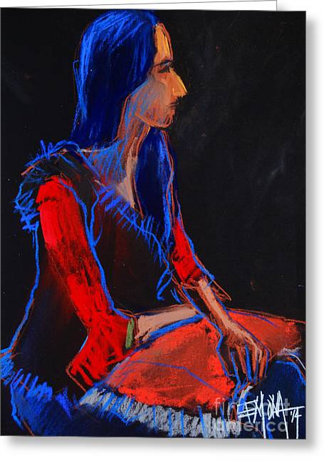 Figurative Pastels Greeting Cards - Model #2 - figure series Greeting Card by Mona Edulesco