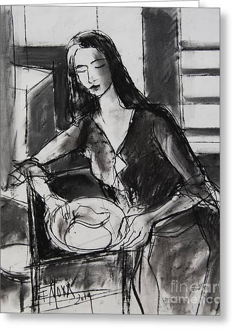 Model #5 - Figure Series Greeting Card by Mona Edulesco