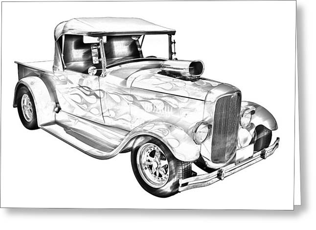 American Model Greeting Cards - Model A Ford Pickup Hotrod Illustration Greeting Card by Keith Webber Jr