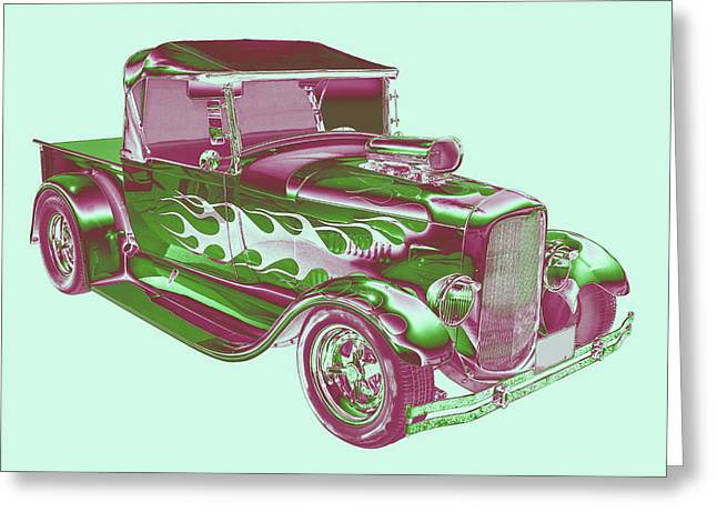 Red Street Rod Greeting Cards - Model A Ford Pickup Hotrod. Greeting Card by Keith Webber Jr