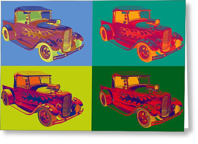 Red Street Rod Greeting Cards - Model A Ford Pickup Hotrod Pop Art. Greeting Card by Keith Webber Jr