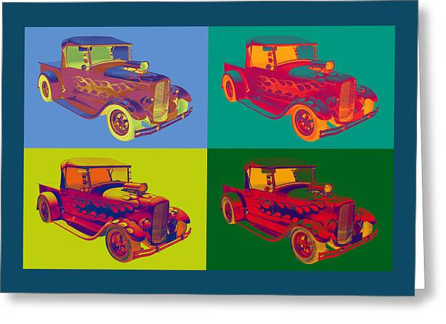 Custom Roadster Greeting Cards - Model A Ford Pickup Hotrod Pop Art. Greeting Card by Keith Webber Jr