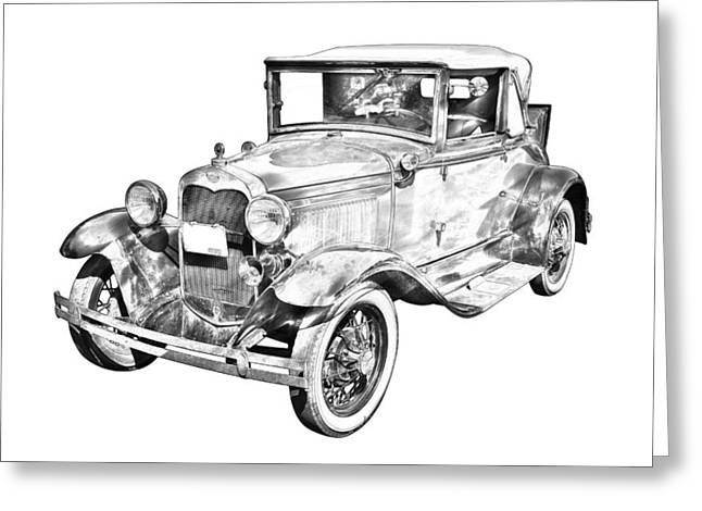 Ford Model A Greeting Cards - Model A Ford Roadster Antique Car Illustration Greeting Card by Keith Webber Jr