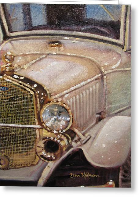 Ford Model T Car Paintings Greeting Cards - Model A Gold Greeting Card by Dan Nelson