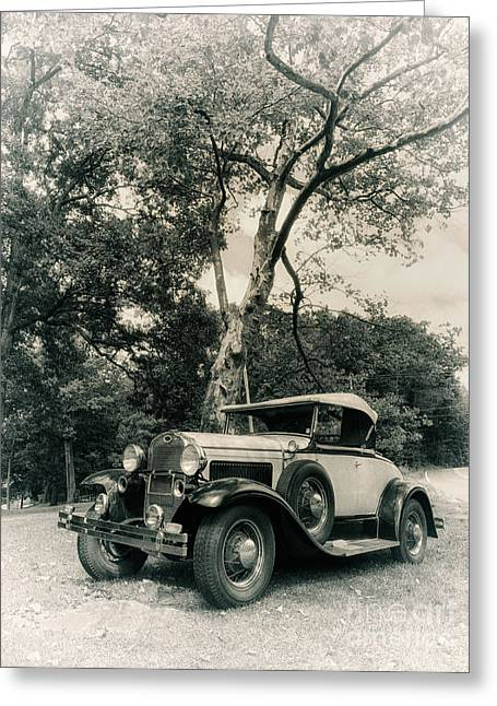 Ford Model A Greeting Cards - Model A Roadster - black and white version Greeting Card by Mark Miller