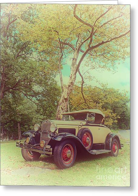 Ford Model A Greeting Cards - Model A Roadster - colorized version Greeting Card by Mark Miller
