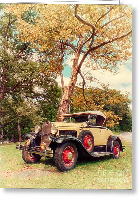 Ford Model A Greeting Cards - Model A Roadster - retro version Greeting Card by Mark Miller