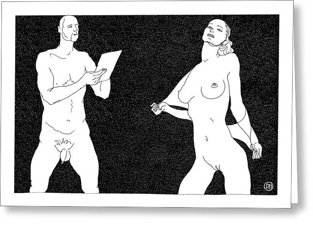 Body Greeting Cards - Model and artist 1 Greeting Card by Leonid Petrushin