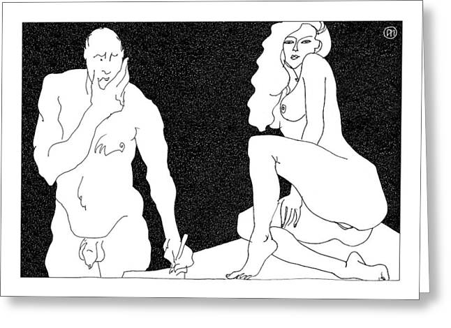 Body Greeting Cards - Model and artist 18 Greeting Card by Leonid Petrushin