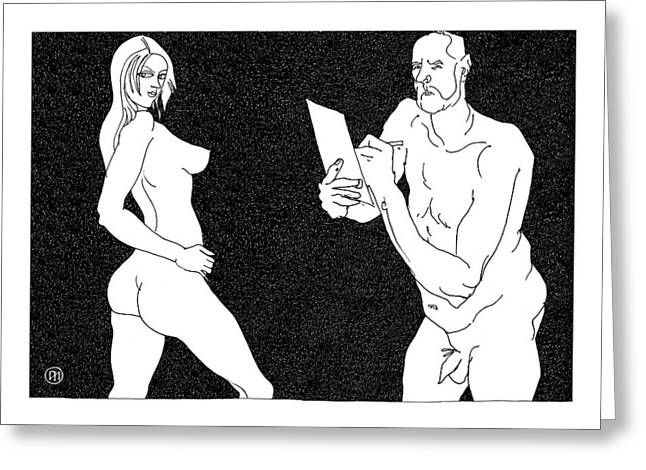 Figurative Greeting Cards - Model and artist 4 Greeting Card by Leonid Petrushin