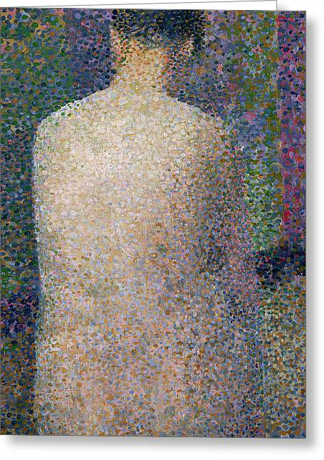 Technique Greeting Cards - Model from the Back Greeting Card by Georges Pierre Seurat