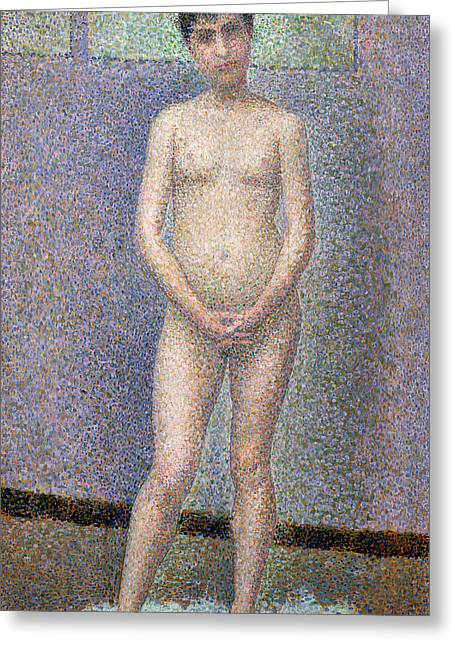 Technique Greeting Cards - Model from the Front Greeting Card by Georges Pierre Seurat
