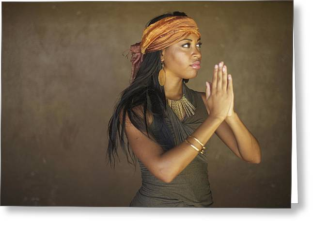 African-american Photographs Greeting Cards - Model in Prayer Greeting Card by Kicka Witte