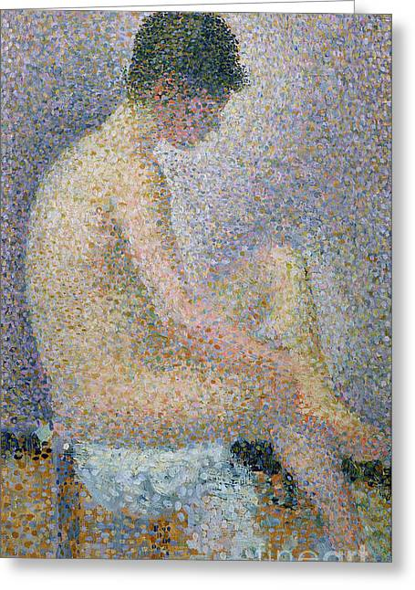Technique Greeting Cards - Model in Profile Greeting Card by Georges Pierre Seurat
