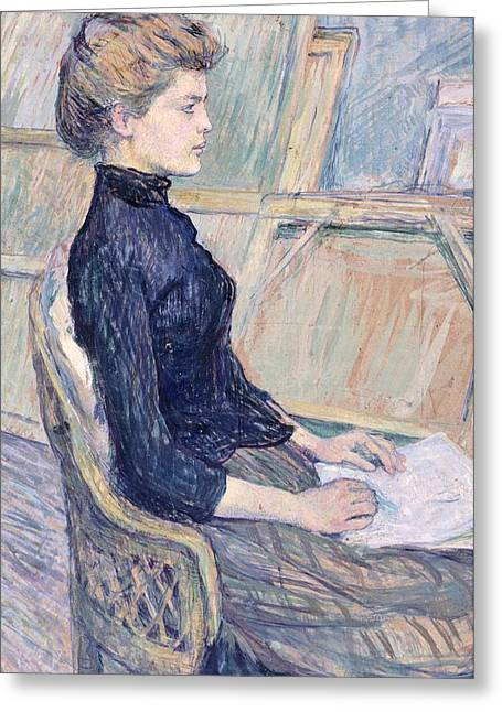 France From 1886 Greeting Cards - Model in study  Greeting Card by Henri de Toulouse Lautrec