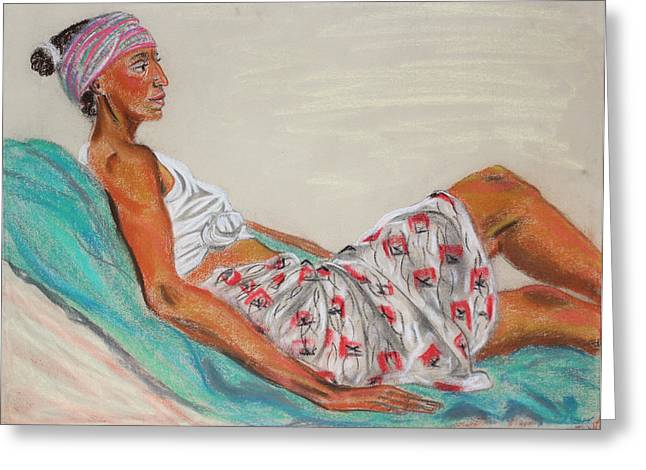 Lounge Paintings Greeting Cards - Model Lounging on Turquiose Greeting Card by Asha Carolyn Young