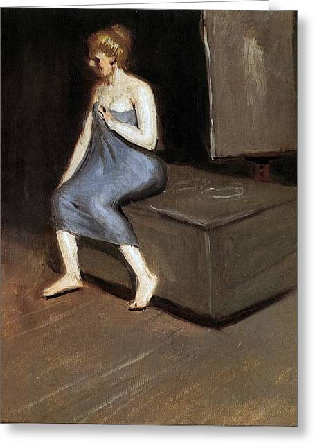 Modesty Greeting Cards - Model sitting Greeting Card by Edward Hopper