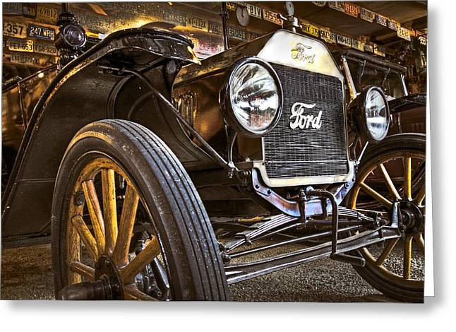 Ford Model T Car Greeting Cards - Model T Greeting Card by Debra and Dave Vanderlaan
