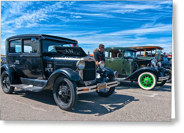 Cop Car Greeting Cards - Model T Fords Greeting Card by Steve Harrington