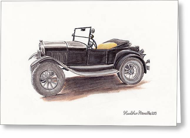Ford Model T Car Drawings Greeting Cards - Model T.  Greeting Card by Heather Stinnett