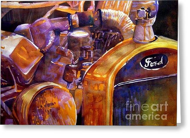 Ford Model T Car Paintings Greeting Cards - Model T Greeting Card by Jerry Aissis