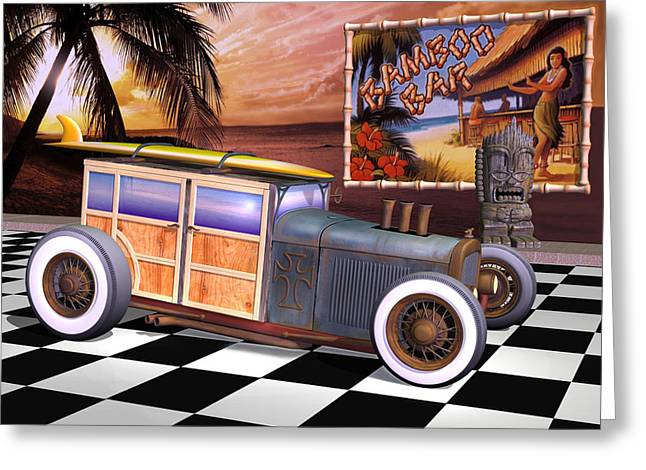 Ford Model T Car Greeting Cards - Model T Surf Woody Greeting Card by Stuart Swartz
