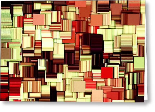 Golds Reds And Greens Greeting Cards - Modern Abstract Art XVII Greeting Card by Lourry Legarde