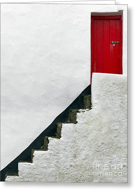 Staircase Mixed Media Greeting Cards - Modern Abstract Door Greeting Card by Svetlana Sewell