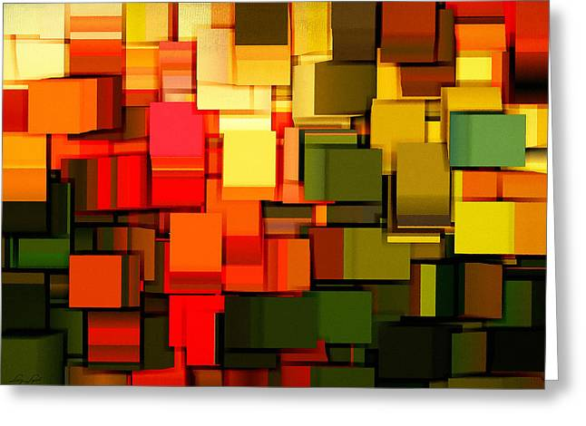Golds Reds And Greens Greeting Cards - Modern Abstract I Greeting Card by Lourry Legarde