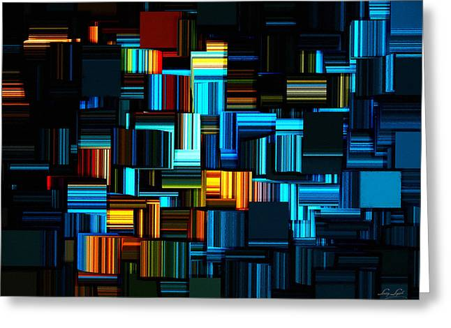 Rectangles Greeting Cards - Modern Abstract V Greeting Card by Lourry Legarde