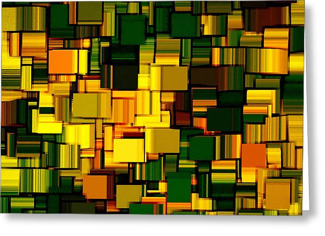 Green Geometry Art Greeting Cards - Modern Abstract XXII Greeting Card by Lourry Legarde