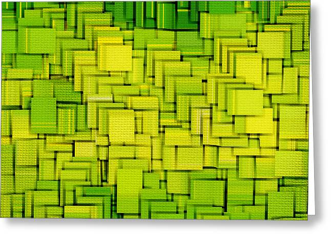Green Geometry Art Greeting Cards - Modern Abstract XXXIII Greeting Card by Lourry Legarde