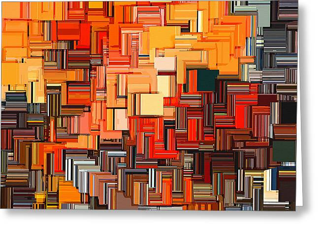 Tangerines Digital Greeting Cards - Modern Abstract XXXIV Greeting Card by Lourry Legarde
