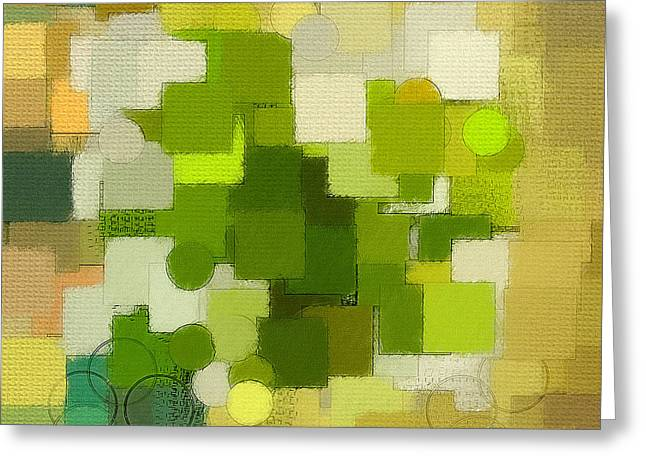 Green Geometry Art Greeting Cards - Modern Abstract XXXV Greeting Card by Lourry Legarde