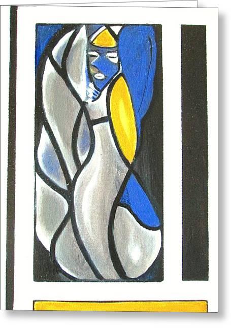 Angel Blues Greeting Cards - Modern Angel Greeting Card by Liz Lafalce