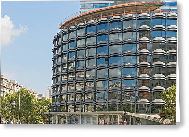 Office Buiding Greeting Cards - Modern architecture in Barcelona Spain Greeting Card by Marek Poplawski
