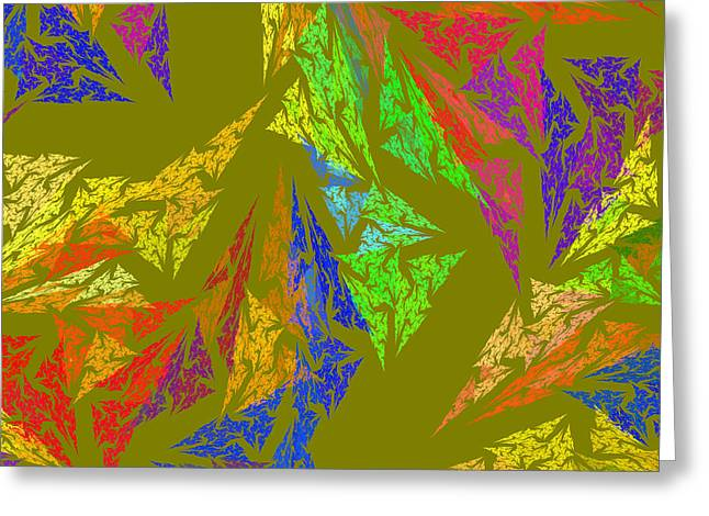 Geometric Image Greeting Cards - Modern Art Abstract Fractal Green Background Greeting Card by Keith Webber Jr