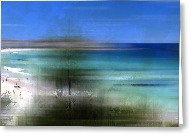 Nature Abstract Digital Greeting Cards - Modern-Art BONDI BEACH Greeting Card by Melanie Viola