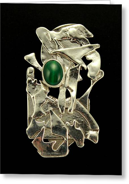 Green Abstract Jewelry Greeting Cards - Modern Art Greeting Card by Laura Wilson