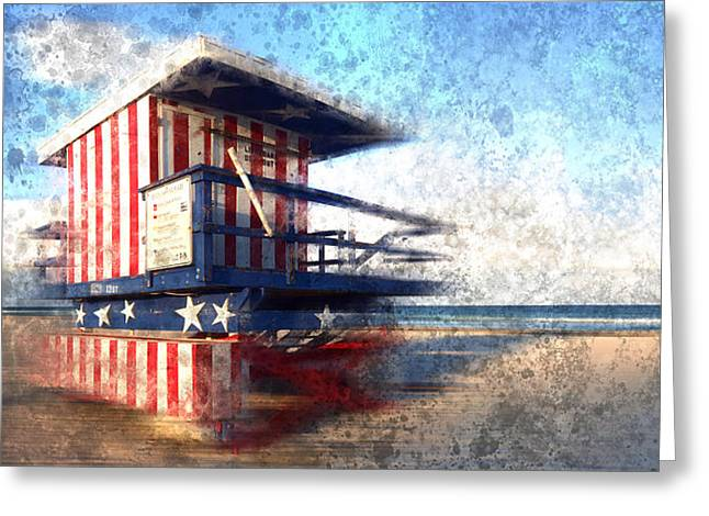 Sand Art Digital Art Greeting Cards - Modern-Art MIAMI BEACH Watchtower Greeting Card by Melanie Viola