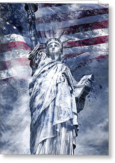 Flag Of Usa Greeting Cards - Modern Art STATUE OF LIBERTY blue Greeting Card by Melanie Viola
