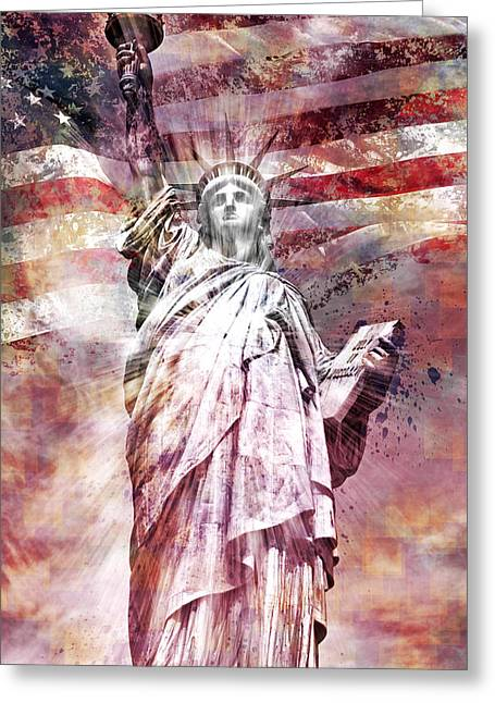 Composing Greeting Cards - Modern Art STATUE OF LIBERTY red Greeting Card by Melanie Viola