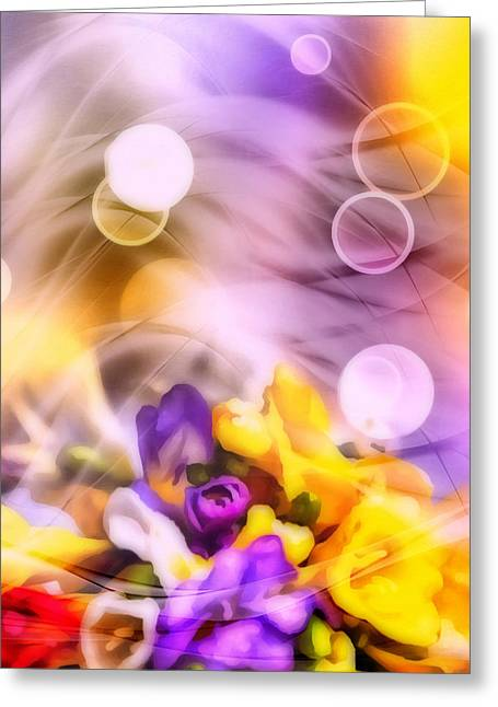 Bokeh Mixed Media Greeting Cards - Modern Bouquet Greeting Card by Georgiana Romanovna